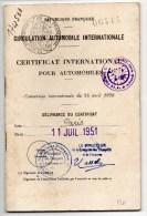 1951 - CERTIFICAT AUTOMOBILE INTERNATIONAL POUR AUTOMOBILES - Transportation Tickets