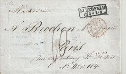 """Lettre D´ELBERFELD De 1852 - Marque D´Entrée """" PRUSSE PAR VALENCIENNES"""" - Marcophilie (Lettres)"""