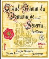 Etiquette Grand  RHUM Du Domaine De Séverin - Pur Vesou - 50%  100 Cl -  GUADELOUPE -- - Rhum