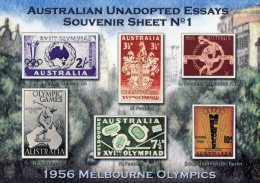 Australia Unadopted Essays Souvenir Sheet No 1 - 1956 Melbourne Olympics MNH (Cinderella) -see Notes - Cinderelas