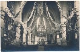 LEGE - Carte Photo  - Intérieur De L´Eglise Pavoisée, Fête Des Roses 1928 - Legé