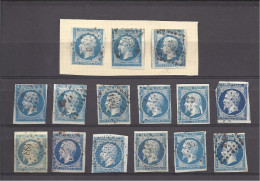 FRANCE -==- Lot De 15 Timbres Oblitérés N. D. Du Type NAPOLEON II Non Lauré -- 20 C. Bleu ( Diverses Nuances De Bleu ) - 1853-1860 Napoléon III
