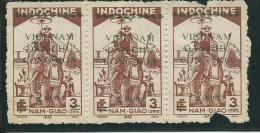 VIET-NAM: NORD, Obl., N°28 X 3, Bande, AB - Vietnam