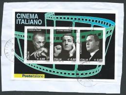 """Italia 2010 ; """" Cinema Italiano """" Foglietto Su Spezzone, Con Annullo Del 2010 . - 6. 1946-.. Republik"""