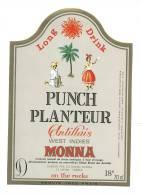 Etiquette De (Rhum)  -   Punch  Planteur Antillais  -   Monna   Le Havre  (76) - Rhum