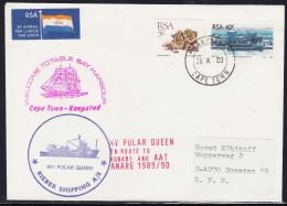 """ANTARCTIC, AAT, M/V """" POLAR QUEEN"""" Exp. 1989/90,28.10.1989 CapeTown, 3 Cachets , Look Scan !! 25.11-44 - Antarctische Expedities"""