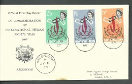 1968. ASCENSION ,  OFFICIAL FIRST  DAY  COVER - INT. HUMAN RIGHTS YEAR - Ascension