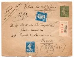 1926 - ENVELOPPE ENTIER SEMEUSE CHARGEE De SAINT JEANNET (ALPES MARITIMES) Avec PASTEUR - Marcophilie (Lettres)