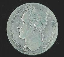 Belgique 5 Fr Argent  Léopold I  Lauré 1847 - 1831-1865: Léopold I