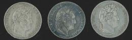 France Lot De 3x 5 Francs Louis Philippe, 1832, 1834 Et 1848 - France