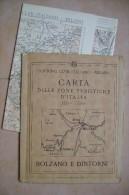 PCU/37 CARTA ZONE TURISTICHE D´ITALIA T.C.I. - BOLZANO E DINTORNI Anni ´20 - Mappe
