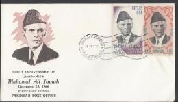 Pakistan 1966 FDC Birth Anniversary Of Quaid-E-Azam Mohammad Ali Jinnah - Pakistan
