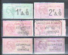 CONNAISSEMENTS, LOT DE 6 TIMBRES - Revenue Stamps