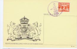 Netherlands: 1943 Dag Van De Postzegel Briefkaart Met Speciaal Stempel, Day Of Stamps, General Picture - Periode 1891-1948 (Wilhelmina)