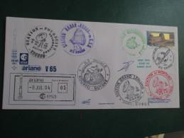 E.esa Ariane 44 L V 65eme Tir 8/7/94 Cachet Des Stations Kourou Et Cayenne Signée N° 61 Lollini - Unclassified