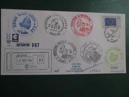 E.esa Ariane 42 L V 67eme Tir 8/9/94 Cachet Des Stations Kourou Et Cayenne Signée N°124 Lollini - Unclassified