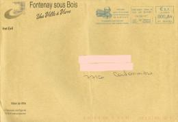 EMA HP 108296 Val De Marne + Flamme Hector Malot écrivain De Fontenay Sous Bois Sur Enveloppe Mairie - Escritores