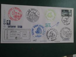E.esa Ariane 44 L V 68eme Tir 7/10/94 Cachet Des Stations Kourou Et Cayenne Signée N°121 Lollini - Unclassified