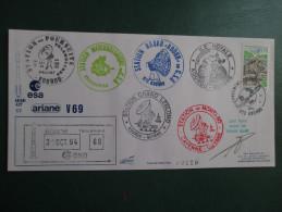 E.esa Ariane 42P V 69eme Tir 31/10/94 Cachet Des Stations Kourou Et Cayenne Signée N°119 Lollini - Unclassified