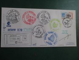 E.esa Ariane 42P V 70eme Tir 1/12/94 Cachet Des Stations Kourou Et Cayenne Signée N°83 Lollini - Unclassified