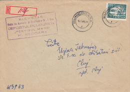 32721- SHIPYARD, STAMPS ON REGISTERED COVER, 1968, ROMANIA - 1948-.... Republics