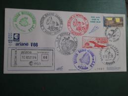 E.esa Ariane 44LP V66eme Tir 10/8/95 Cachet Des Stations Kourou Et Cayenne Concorde En Guyane  N° 97  Lollini Signée - Unclassified