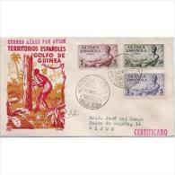 GUICA311STV-LFT4020TFSC.Guinea Guinee GUINEA ESPAÑOLA.INDIGENAS Y TAM TAM.1952.( Ed 311/3º) SOBRE DEL PRIMER DIA CIRCULA - Fiestas
