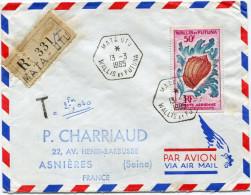 WALLIS ET FUTUNA LETTRE RECOMMANDEE PAR AVION TAXEE DEPART MATA-UTU 13-3-1965 POUR LA FRANCE - Covers & Documents