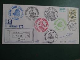 E.esa Ariane 44LP V73eme Tir 17/5/95 Cachet Des Stations Kourou Et Cayenne  N° 189  Lollini Signée - Unclassified