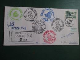 E.esa Ariane 40 V75eme Tir 7/7/95 Cachet Des Stations Kourou Et Cayenne  N° 30  Lollini Signée - Unclassified