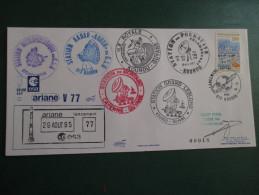E.esa Ariane 44P V77eme Tir 29/8/95 Cachet Des Stations Kourou Et Cayenne  N° 18  Lollini Signée - Unclassified