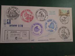 E.esa Ariane 42L V78eme Tir 23/9/95 Cachet Des Stations Kourou Et Cayenne  N° 189  Lollini Signée - Unclassified
