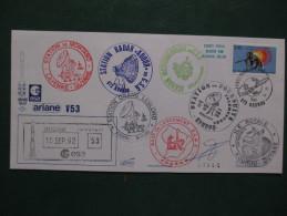 E.esa Ariane 44LP V53eme Tir 10/9/92 Cachet Des Stations Kourou Et Cayenne  N° 114  Lollini Signée - Unclassified