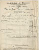 FRESNAY SUR SARTHE ETS BRIANCHON MAISON ARSENE CHARDON DISTILLATION DE LIQUEURS ANNE 1900 PLIS ET 2 DECHIRRURES - France