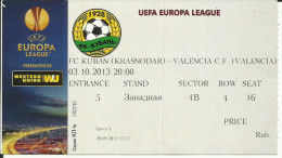 "Tickets Sport Competitions - FOOTBALL. F.C. ""Kuban"" Vs F.C. ""VALENCIA"" - EUROPA LEAGUE - UEFA - Sports"
