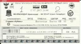 """Tickets Sport Competitions - FOOTBALL. F.C. """"Krasnodar"""" Vs F.C. """"ZENIT"""" - Sports"""