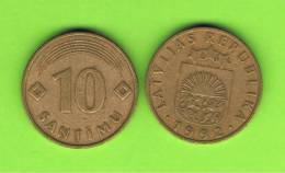 LATVIA - LETONIA - 10 Santimi   1992 Circulada   KM17 - Letonia