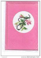 CARTE SIMPLE  BRODEE MAIN POINT DE CROIX+ ENVELOPPE - Cross Stitch