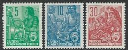 GDR 1953  Sc#156, 159, 165   5pf, 10pf & 30pf  MNH**  2016 Scott Value $8.20 - [6] Democratic Republic