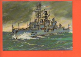 """Bateaux - Les Bâtiments De La Flotte Française Escorteur D'Escadre Du Chayla """" Dessin De François Perhirin - Guerre"""