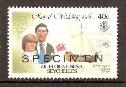 """1981 - SEYCHELLES - SPECIMEN - Mariage Royal Charles Et Diana -Yacht """"Royal Escape"""" - Territoire Britannique De L'Océan Indien"""