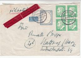 Brief-Kuvert, Bundesrepublik Deutschland, Eilbote Mit Viererblock Oskar V. Miller, 1955 - BRD