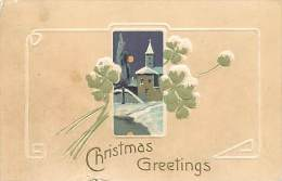 257721-Christmas, PFB No 6301-3, Snow Covered Church, Moon, Embossed Litho - Noël