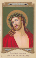 """""""The Good Shepherd Giveth His Life For The Sheep"""", Jesus Christ With Crown Of Thrones, Gold Detail, PU-1913 - Jesus"""