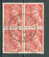 Collection FRANCE ; 1938-41 ; Type ; Y&T N° 412 ; Lot : Bloc De 4 ;  Oblitéré - 1938-42 Mercure