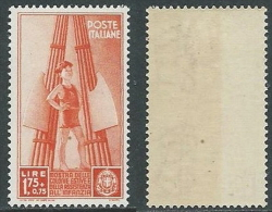 1937 REGNO COLONIE 1,75 LIRE GOMMA BICOLORE MNH ** - Y074 - Mint/hinged