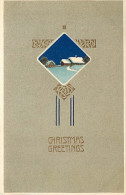 257765-Christmas, PFB No 6469-1, Art Nouveau, Snow Covered Home At Night, Embossed Litho - Other