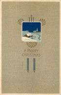 257767-Christmas, PFB No 6469-2, Art Nouveau, Snow Covered Home & Church At Night, Embossed Litho - Kerstmis