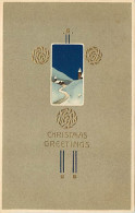 257769-Christmas, PFB No 6469-3, Art Nouveau, Snow Covered Church At Night, Embossed Litho - Kerstmis