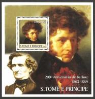 ST THOMAS AND PRINCE 2003 MUSIC COMPOSERS BERLIOZ M/SHEET MNH - Sao Tome And Principe